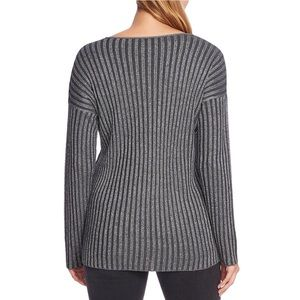 Vince Camuto Metallic Stripe V-neck Sweater